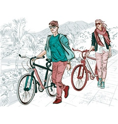 Sightseeing girl and guy biking around vector