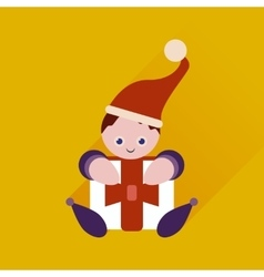 Flat web icon with long shadow christmas elf vector
