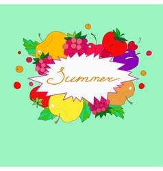 Summer lettering in frame of fruits and berries vector