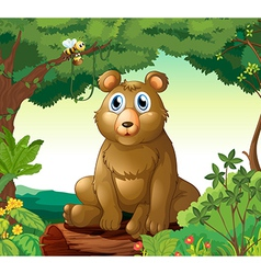 A big bear in the forest vector image