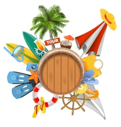 Beach Concept with Barrel vector image