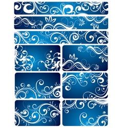 Blue floral backgrounds vector