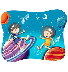 Boy and girl floating in the space vector