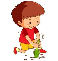 Boy with garden spoon digging hole vector