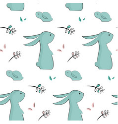 childish pattern with cute rabbits vector image