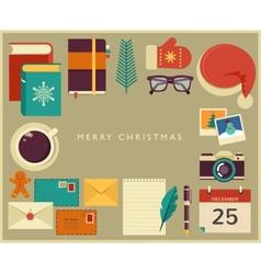 Christmas santas desktop flat design vector