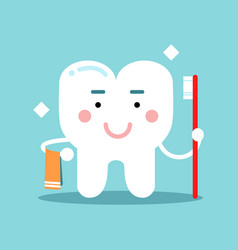 cute cartoon tooth character brushing and holding vector image vector image
