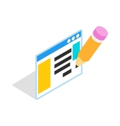 Document with pencil icon isometric 3d style vector