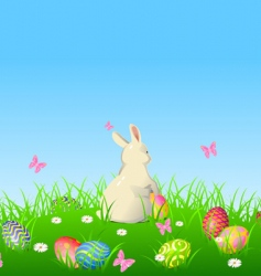 Easter bunny background vector image vector image