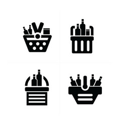 Fresh food shopping cart icon vector
