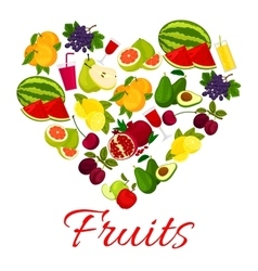 Fruit heart icon with fresh fruits icons vector