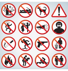 Funny forbidden icons set vector
