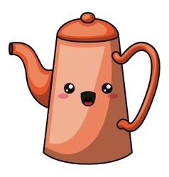 kettle with kawaii face design vector image vector image