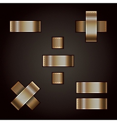 Letter metal gold ribbon - mathematical signs vector