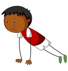 Little boy doing push up vector image