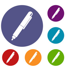 Marker pen icons set vector