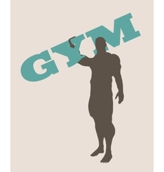 Muscular man holding gym word silhouette vector
