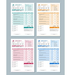 Set of Invoice Design Templates Gren Orange Red vector image