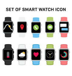 Set of smart watches icons vector