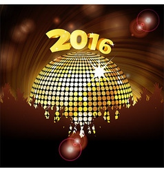 Sparkling disco ball 2016 and crowd vector image vector image