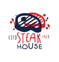 Steak house logo template estd 1968 vintage label vector