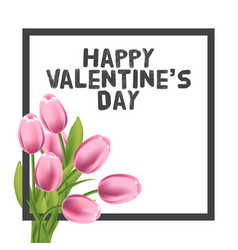 valentines day greeting card with tulips flowers vector image vector image
