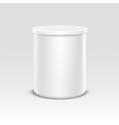 White tin box packaging container for tea coffee vector image