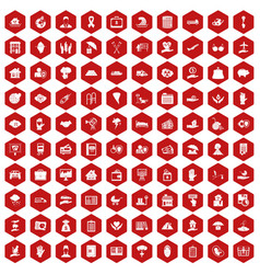 100 insurance icons hexagon red vector image vector image