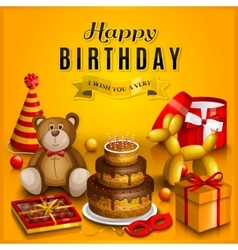 happy birthday greeting card pile of colorful vector image