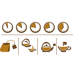Tea Brewing Scheme Cup Time Teapot and Tea Bags vector image
