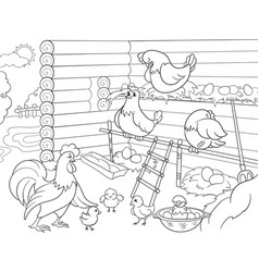 interior and life of birds in the chicken coop vector image