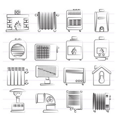 Home heating appliances icons vector