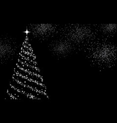 Gray background with christmas tree vector