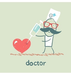 Doctor with a syringe pricks the heart vector image