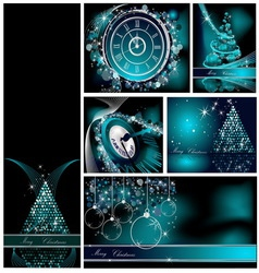 Merry christmas backgrounds collection silver and vector