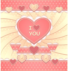 Valentines card with hearts and scrapbooking eleme vector
