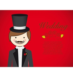 Groom with wedding dress on red background vector