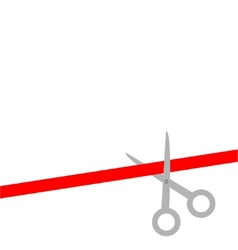 Scissors cut straight red ribbon on the right flat vector