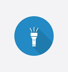 Flashlight flat blue simple icon with long shadow vector