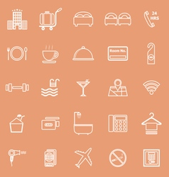 Hotel line icons on orange background vector