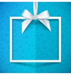 White paper gift box frame with silky bow and vector image