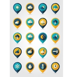 Meteorology weather flat pin map icons set vector
