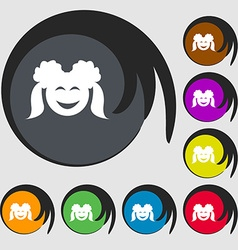 Smiling girl icon symbols on eight colored buttons vector