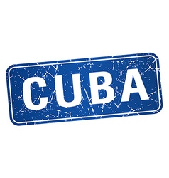 Cuba blue stamp isolated on white background vector image