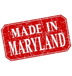Made in maryland red square grunge stamp vector