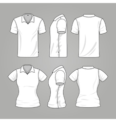 Blank white mens and womens t-shirt outline vector