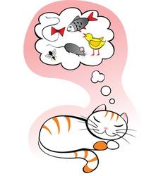 cat dreams vector image vector image