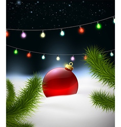 Christmas background with Christmas ball on the vector image vector image