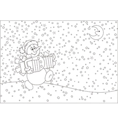 Christmas snowman with gifts vector