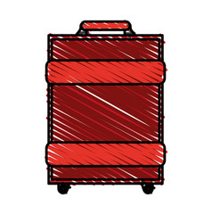 Color crayon stripe image travel baggage with vector